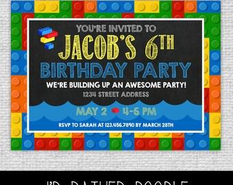 Bricks Pool Birthday Invitation - Bricks Invitation - Primary Colors Bricks Chalkboard Invite - Bricks Invite - Bricks Pool Party