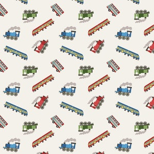 Mini Trains on White / Small Things on the Move 100% cotton Fabric / HO Train Fabric / Quiltex 14.1  / Yardage and Fat Quarters