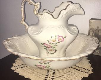 Vintage Floral Arnels Wash Basin and Water Pitcher
