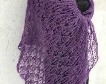 Violet kidsilk long lace scarf with leaves pattern  mohair Evening wrap Handknitted shawl Lightweight kidsilk shawl  silkmohair lace Stola