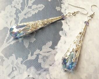 BLUE CRYSTAL EARRINGS Blue Drop Earrings Blue Teardrop Chandelier Earrings Crystal Teardrop Earrings Dangle Earrings Long Silver Earrings