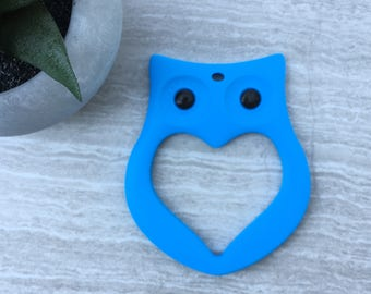 Owl Baby Teether, Blue Baby Teether, Teether Gift, Baby Shower Gift, Boys Teething Toy, Baby Boy Teether, Silicone Teether