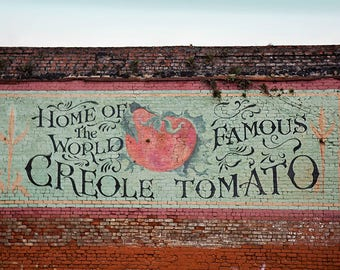 New Orleans Home Decor, Vintage Sign, Louisiana, Creole Tomato, New Orleans Gift, Photography Art Print, Wall Art Home Decor, Kitchen Art