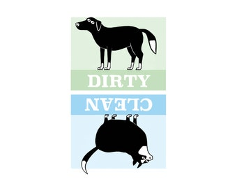 cat dog clean dirty dishwasher magnet - black white cat - black white dog - dog dishwasher - cat dishwasher