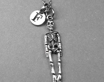Skeleton Necklace, human Skeleton charm, silver plated pewter, initial necklace, initial jewelry, personalized jewelry, monogram letter