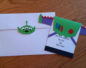 Toy Story Birthday Invitation with Matching Alien Invitation, Buzz Lightyear Birthday Invitation - Handmade, Toy Story, birthday invitation