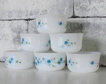 6 Arcopal ramekins - Arcopal veronica, Myosotis, Blue flowers, Arcopal bowls, Milk glass bowls, Forget me not