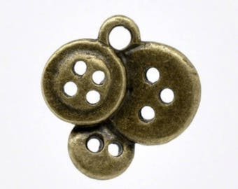 Bronze button charm 15 X 14mm