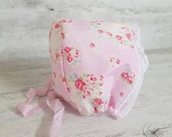Pretty Pink Newborn Baby Bonnet, Newborn Bonnet, Newborn Baby Bonnet, Newborn Photo Prop, Newborn Bonnet, Photography Prop, Baby Girl Bonnet