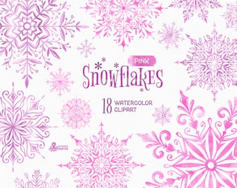 Snowflakes Pink. 18 Watercolor separate Elements, clipart, christmas, glitter, holiday, card, diy, invitation, snow, winter, glamour