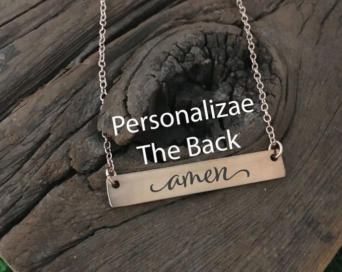 Amen Bar Necklace Religious Necklace Gift Idea For Her Jewelry Prayer Necklace Accessory Amen Bar Necklace Gift For Christian Gift For Her