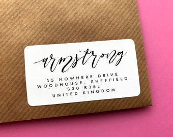 Return Address Label, Family Address Label, Calligraphy Address Label, Save The Date Address, Wedding Labels, Custom Return Address Label