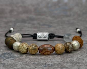 CAMEL | Mens Beaded Bracelet, Brown, Tibetan Bracelet, Bracelet for Men, Gift for Men, Mens Jewelry, Macrame Bracelet, Anniversary Gift