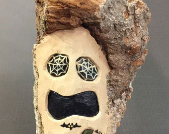 HAND CARVED Ghost with a Jack o Lantern from 100 year old Cottonwood Bark