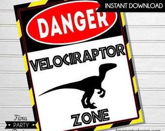 Jurassic Birthday Party Printable Velociraptor Zone Sign by Fara Party Design  Jurassic Party   Dinosaur Birthday   Welcome Sign