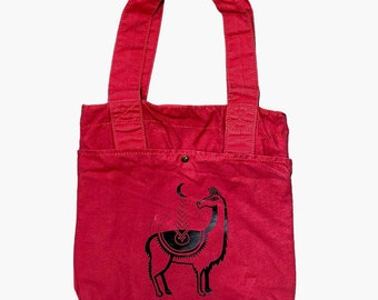 Red Commuter Bag with Black Llama Print