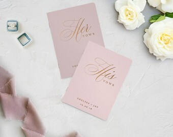 Wedding Vow Books, Set of His and Hers, Personalized, Vow Books, His and Her Vow Books, Wedding Vow Book Rose Gold, Custom Wedding Vow Books