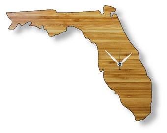 Florida Shaped Bamboo Wall Clock. Perfect for home, office or gift.