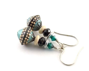 Handmade Turquoise and Black Polymer Clay Earrings, Wire Earrings, Boho Earrings, Artisan Earrings, Small Earrings,Turquoise Earrings, AE105