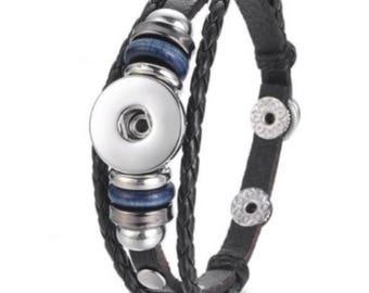 Leather braided snap bracelet mixed leather bracelet