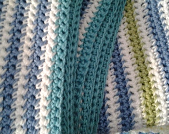 Cotton Blanket in blue,green, white Stripes