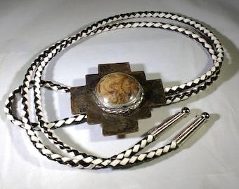 Andean Cross Bolo Tie, Inca Cross Bolo Tie, Stromatolite Bolo Tie, Stromatolite Cabochon, Stromatolite on Copper Bolo Tie
