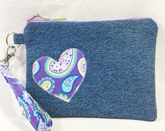 Denim and Paisley Heart Cotton Wristlet/Zippered Pouch/Change Purse/Cell Phone Bag ~ Natalie Wristlet by Allica Designs Free Shipping in US