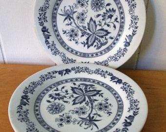 3 vintage dark blue floral melmac snack plates Texasware