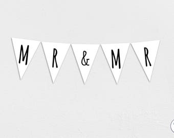 Mr & Mr Garland, Bunting, Banner, wedding, engagement, groom, Honeymoon, Instant Download, printable,