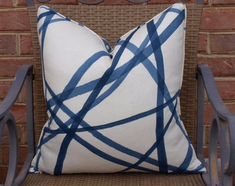 One or Both Sides - ONE Kelly Wearstler Channels Periwinkle/Ivory Pillow Cover with Self Cording