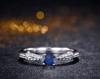Round Blue Sapphire Engagement Ring 14k White Gold Art Deco Blue Sapphire Ring Milgrain Handmade Anniversary Ring September Birthstone