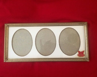 Beautiful Heirloom gold whitewashed metal collage picture frame, vintage