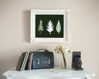 Holiday printable, Christmas wall print, Holiday art printable, wall art home decor, green and white