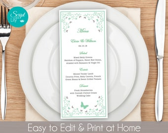 butterfly dinner menu template free color change instant download editable text