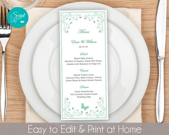 Butterfly Dinner Menu Template FREE Color Change Instant - Free pages menu template