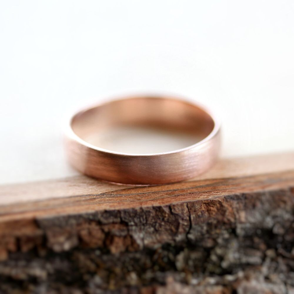 Rose Gold Mens Wedding Band Brushed 45mm Low Dome 14k