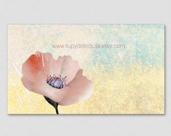 100 business cards  - Your information - Pink Flower Business Card