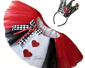 QUEEN of HEARTS Tutu . Infants thru 6X . DELUXE 6 Layers . Short Length 11 by The Tutu Factory ™