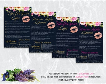 LipSense Tips and Tricks, Lipsense How To Apply, Senegence Application Instructions, Tips Cards, Free Personalized, Digital Files LSS01