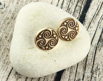 Celtic Triskelion - Triskele - Triple Spiral - Celtic Stud Earrings - Bronze, Earthtone