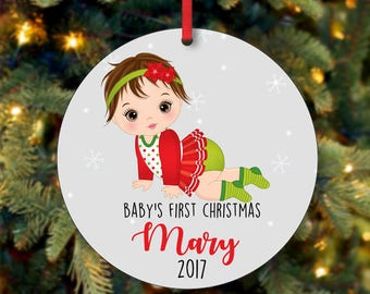 Baby's Girl First Christmas Ornament, Personalized Christmas Ornament, Custom Ornament, Brunette Baby Girl Christmas Ornament (0059)