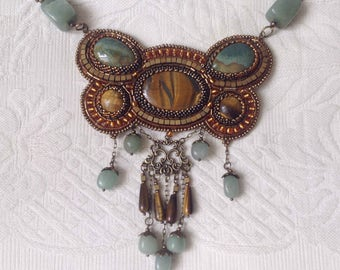 Hand made Necklace with Tiger's eye and jasper stones ART NOUVEAU with beadwork frame