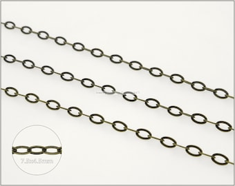 8 ft.+ Soldered Flat Oval Cable Chain, Cross Chain - Antique Brass color