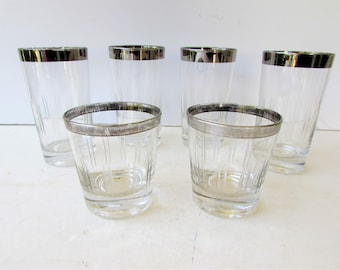 Vintage Cocktail Glasses - Mid Century Barware - Set of 6 Silver Rimmed and Etched Glasses - Tumblers - Rocks Glasses - Low Balls - Whiskey