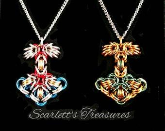 Anodized aluminum Mjolnir necklace