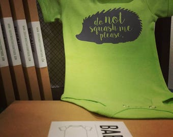 Baby SQUASH Bodysuit // Souvenir or Gift from Malta // Maltese Road Sign // Protect the Hedgehog // HQ Screenprinted Design