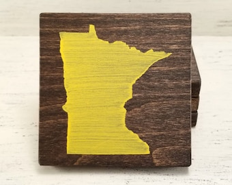 Pick State, Pick Color, Minnesota Wood Coasters, Set of 4, Wedding Gift, Housewarming Gift