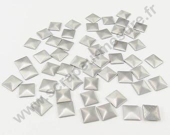 Square Thermo - matte silver - 3mm - x 100pcs