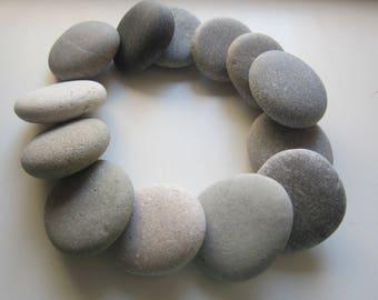 13 pcs Round Sea Stones;Flat beach rock;Natural  sea Pebbles for Crafts,Decor
