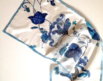 Blue silk scarf for woman hand painted silk scarf in white and blue silk ponge- Mother Day gift